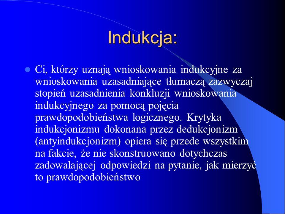 Indukcja: Ci, którzy uznają wnioskowania indukcyjne za wnioskowania uzasadniające tłumaczą zazwyczaj stopień uzasadnienia konkluzji wnioskowania induk