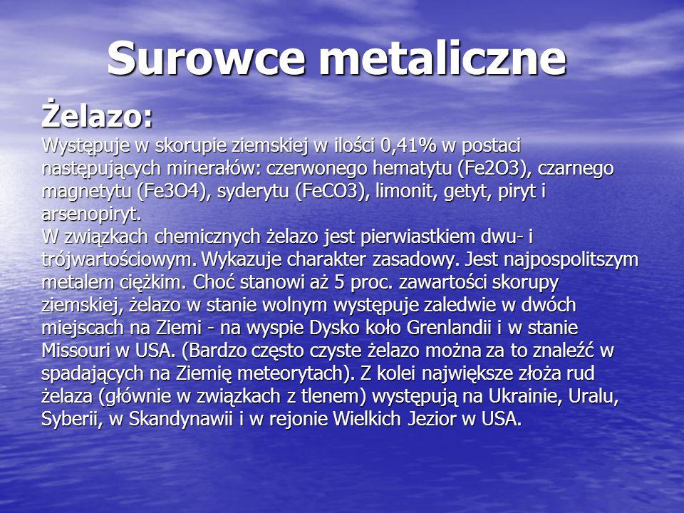 Surowce metaliczne Żelazo: Występuje w skorupie ziemskiej w ilości 0,41% w postaci następujących minerałów: czerwonego hematytu (Fe2O3), czarnego magn