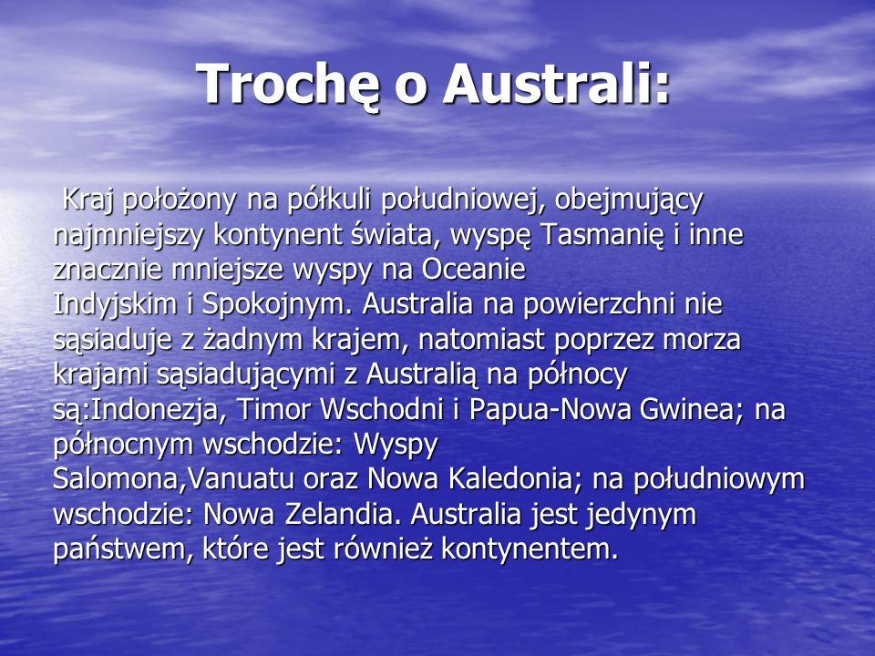 Trochę o Australi: Kraj położony na półkuli południowej, obejmujący Kraj położony na półkuli południowej, obejmujący najmniejszy kontynent świata, wys