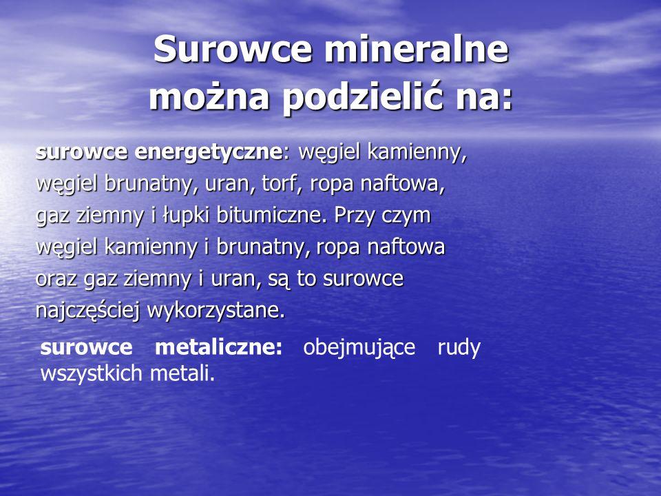 Surowce mineralne można podzielić na: surowce energetyczne: węgiel kamienny, węgiel brunatny, uran, torf, ropa naftowa, gaz ziemny i łupki bitumiczne.