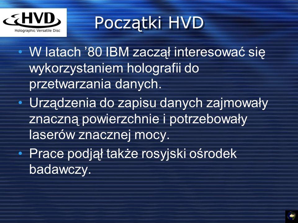 Początki HVD W latach 80 IBM zaczął interesować się wykorzystaniem holografii do przetwarzania danych.
