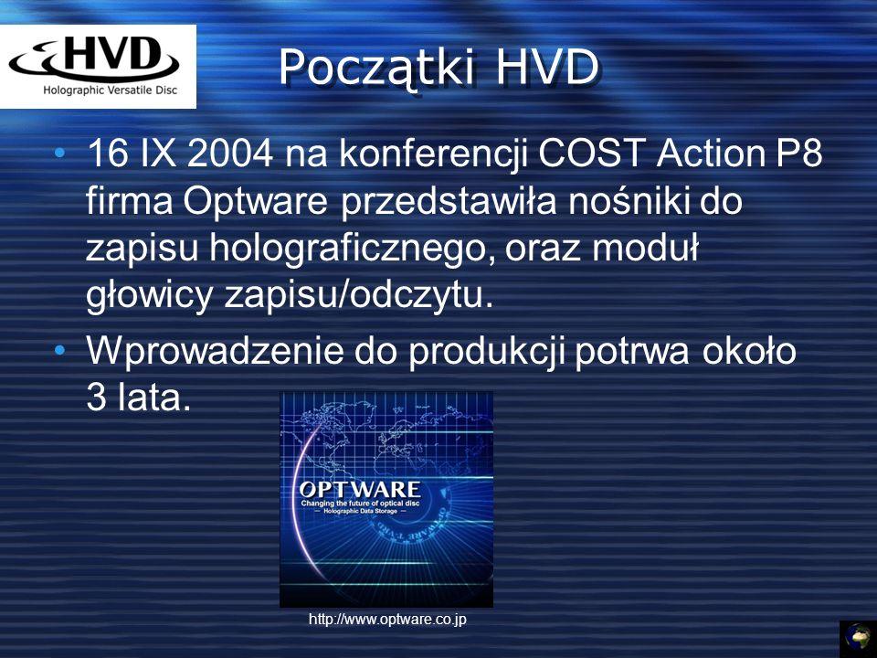 Początki HVD 16 IX 2004 na konferencji COST Action P8 firma Optware przedstawiła nośniki do zapisu holograficznego, oraz moduł głowicy zapisu/odczytu.