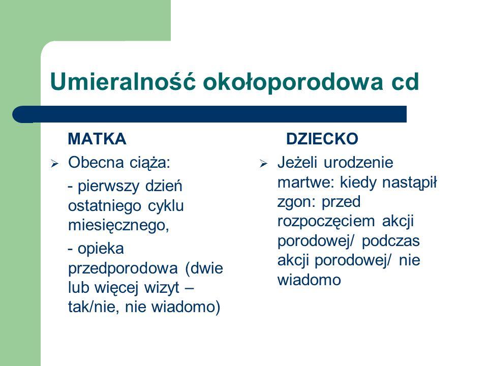 Umieralność okołoporodowa cd MATKA Obecna ciąża: - pierwszy dzień ostatniego cyklu miesięcznego, - opieka przedporodowa (dwie lub więcej wizyt – tak/n
