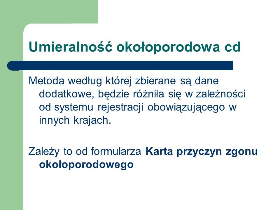 Umieralność okołoporodowa cd Metoda według której zbierane są dane dodatkowe, będzie różniła się w zależności od systemu rejestracji obowiązującego w