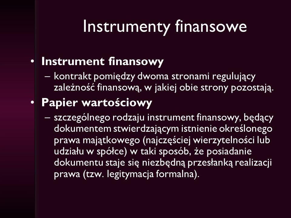 Instrumenty finansowe Instrument finansowy –kontrakt pomiędzy dwoma stronami regulujący zależność finansową, w jakiej obie strony pozostają. Papier wa