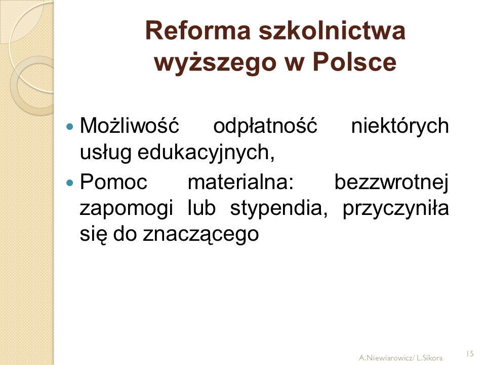 15 Reforma szkolnictwa wyższego w Polsce Możliwość odpłatność niektórych usług edukacyjnych, Pomoc materialna: bezzwrotnej zapomogi lub stypendia, prz