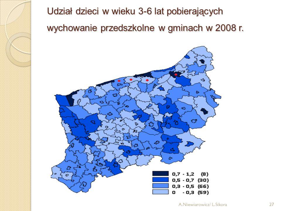27 Udział dzieci w wieku 3-6 lat pobierających wychowanie przedszkolne w gminach w 2008 r. A.Niewiarowicz/ L.Sikora27
