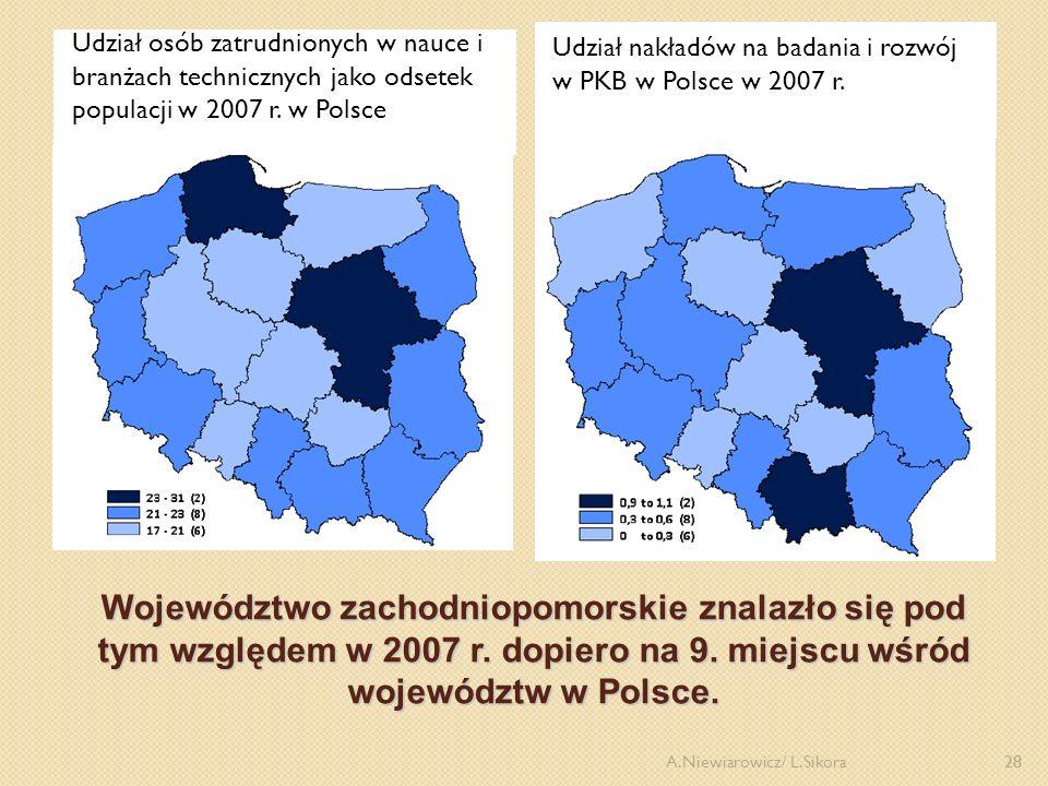 28 Województwo zachodniopomorskie znalazło się pod tym względem w 2007 r. dopiero na 9. miejscu wśród województw w Polsce. Udział osób zatrudnionych w