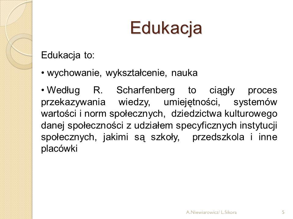 5 Edukacja 5 Edukacja to: wychowanie, wykształcenie, nauka Według R. Scharfenberg to ciągły proces przekazywania wiedzy, umiejętności, systemów wartoś