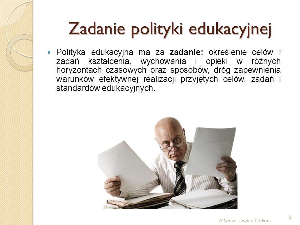 9 Zadanie polityki edukacyjnej Polityka edukacyjna ma za zadanie: określenie celów i zadań kształcenia, wychowania i opieki w różnych horyzontach czas