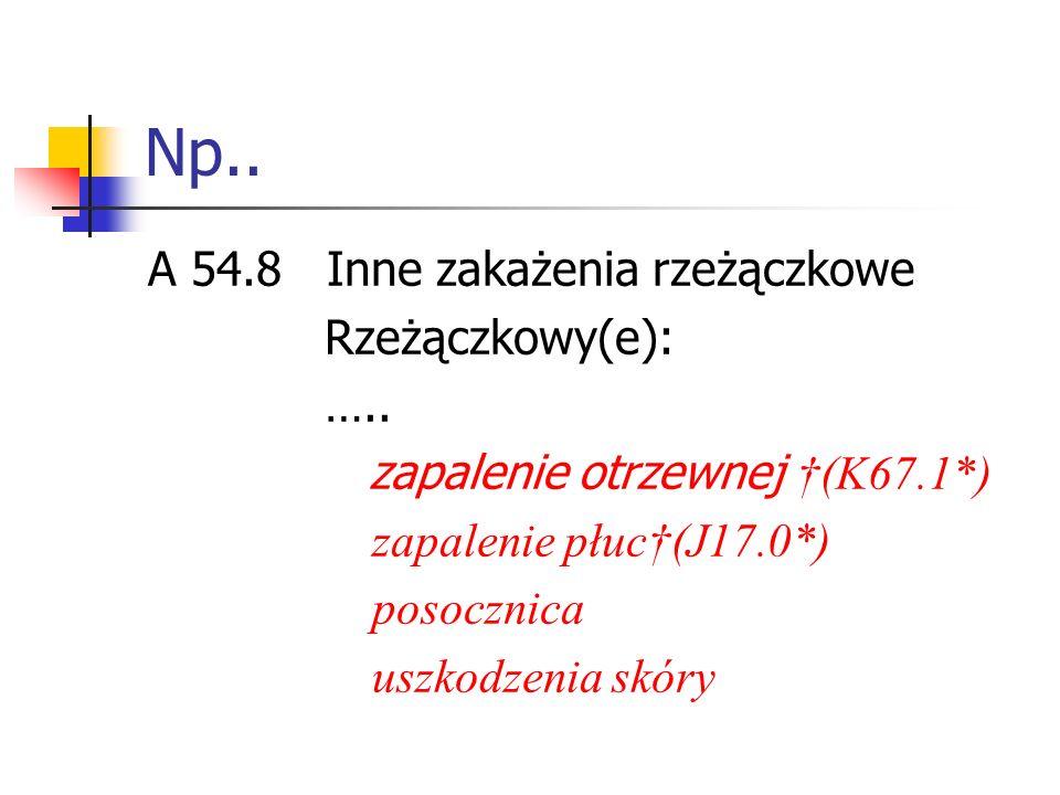 Np..A 54.8 Inne zakażenia rzeżączkowe Rzeżączkowy(e): …..