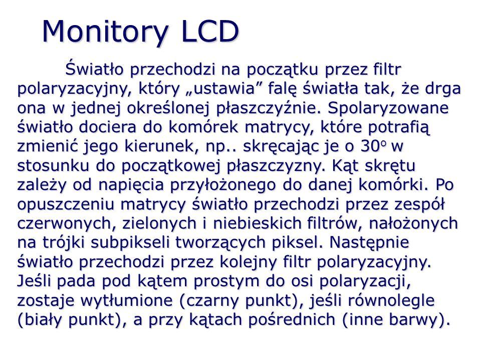 Monitory LCD – ogólna zasada działania Ciekłe kryształy przepuszczają światło przy polaryzacji równoległej, a zatrzymują przy prostopadłej filtr polaryzacyjnyelektrody filtr RGB lampa fluorescencyjna panel przedni