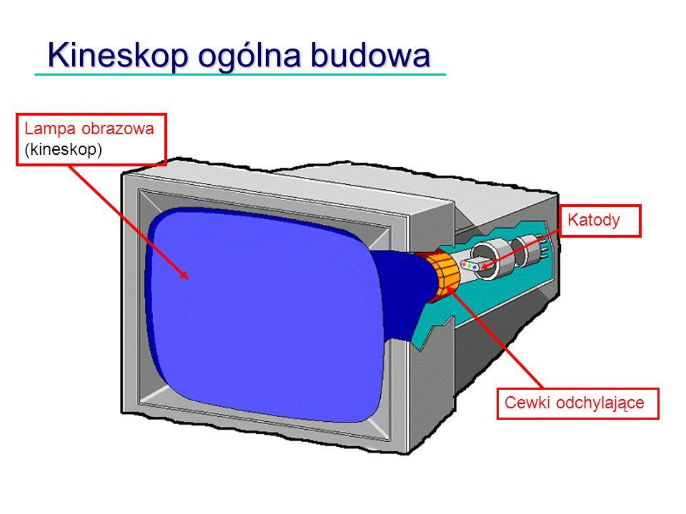 Kineskop ogólna budowa Lampa obrazowa (kineskop) Katody Cewki odchylające