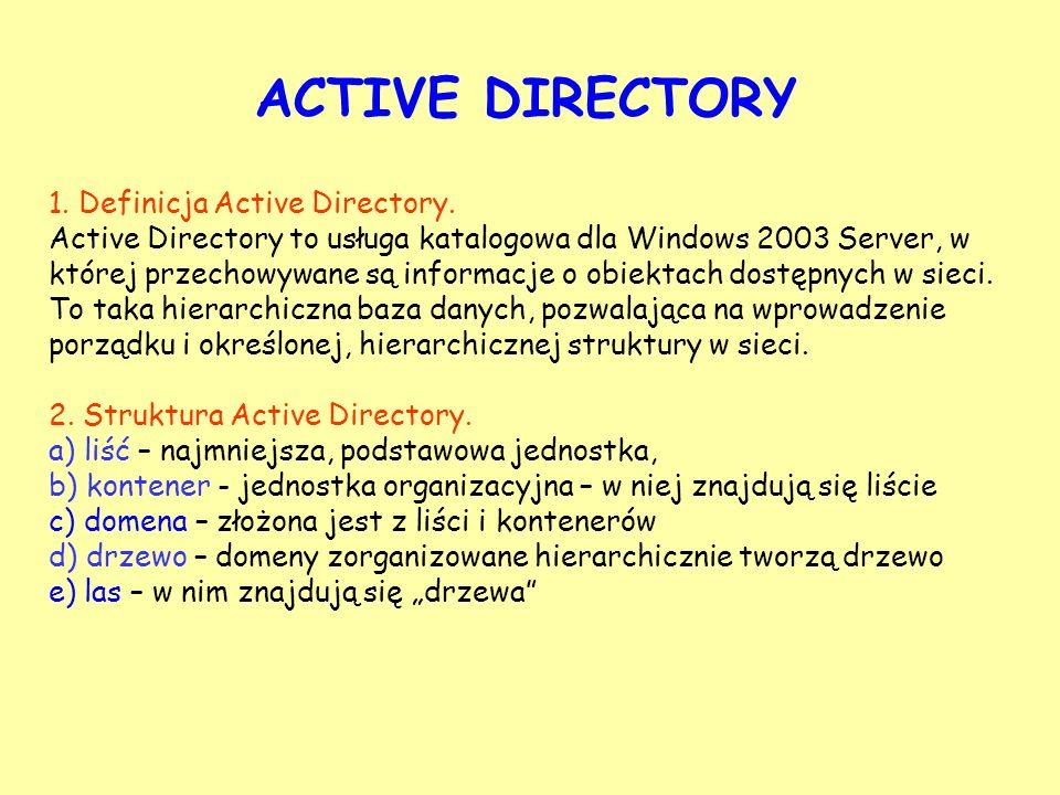ACTIVE DIRECTORY 1. Definicja Active Directory. Active Directory to usługa katalogowa dla Windows 2003 Server, w której przechowywane są informacje o
