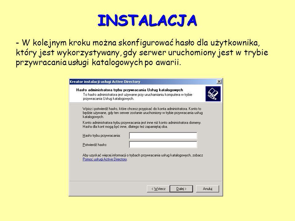 - W kolejnym kroku można skonfigurować hasło dla użytkownika, który jest wykorzystywany, gdy serwer uruchomiony jest w trybie przywracania usługi kata