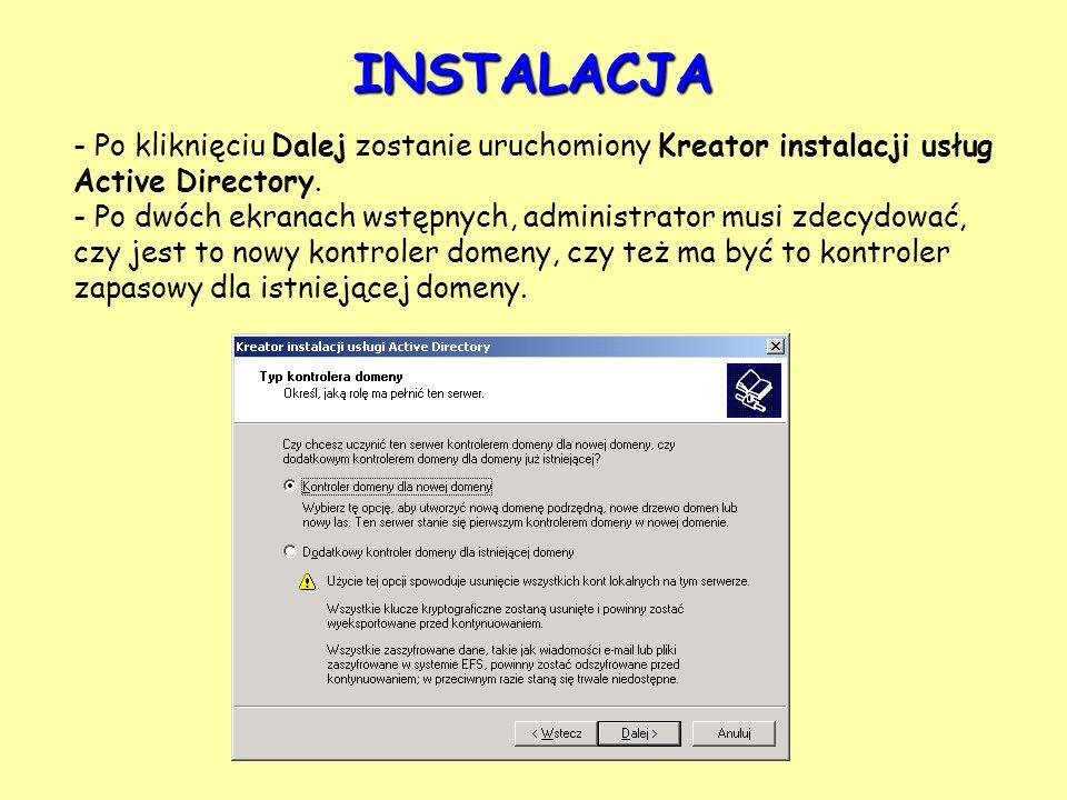 - Po kliknięciu Dalej zostanie uruchomiony Kreator instalacji usług Active Directory. - Po dwóch ekranach wstępnych, administrator musi zdecydować, cz