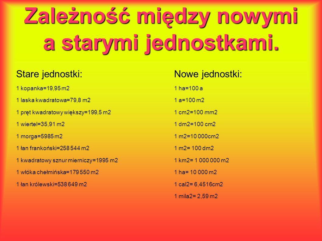 Zależność między nowymi a starymi jednostkami. Stare jednostki:Nowe jednostki: 1 kopanka=19,95 m21 ha=100 a 1 laska kwadratowa=79,8 m21 a=100 m2 1 prę