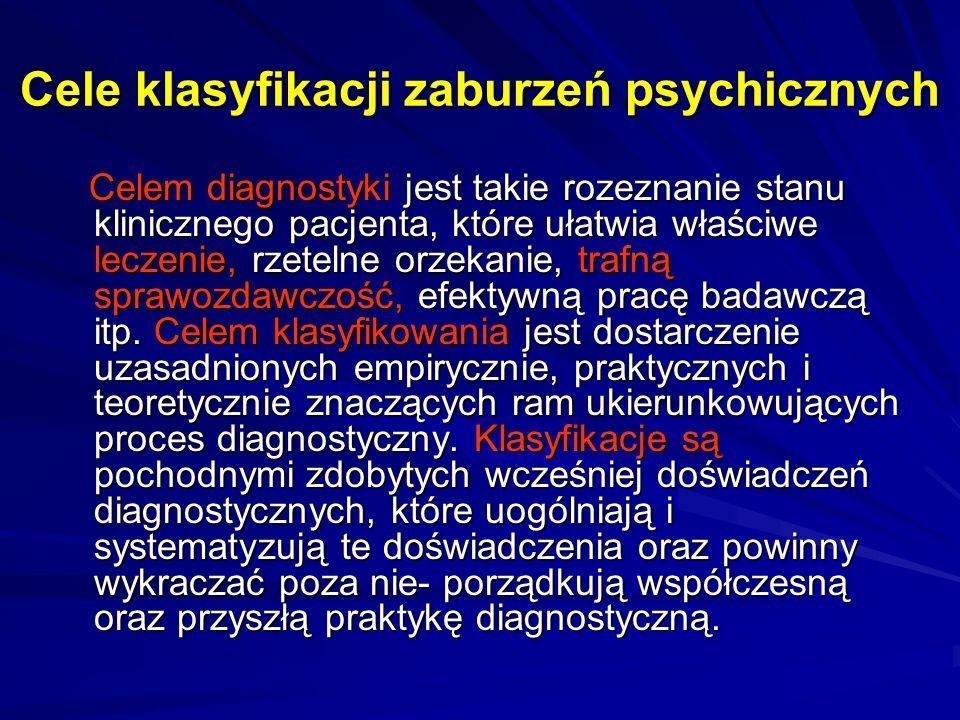 Cele klasyfikacji zaburzeń psychicznych Celem diagnostyki jest takie rozeznanie stanu klinicznego pacjenta, które ułatwia właściwe leczenie, rzetelne orzekanie, trafną sprawozdawczość, efektywną pracę badawczą itp.