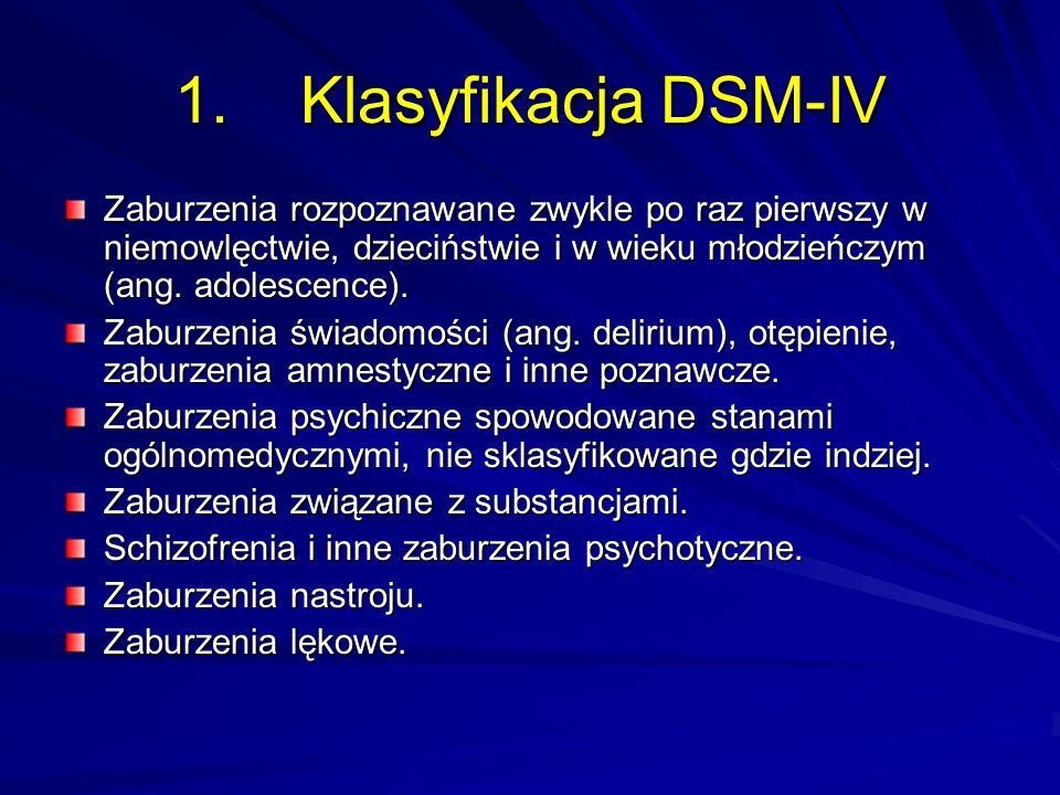 1. Klasyfikacja DSM-IV Zaburzenia rozpoznawane zwykle po raz pierwszy w niemowlęctwie, dzieciństwie i w wieku młodzieńczym (ang. adolescence). Zaburze