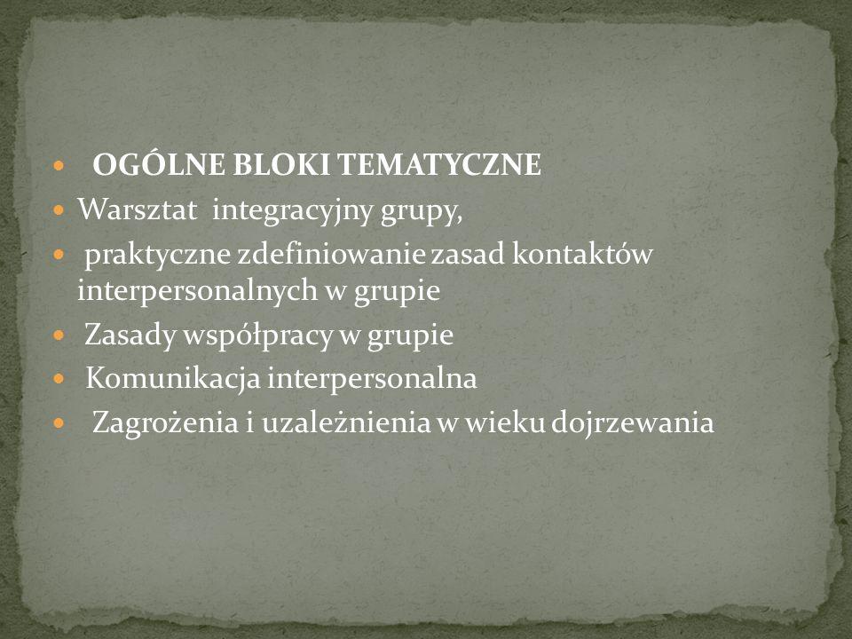 OGÓLNE BLOKI TEMATYCZNE Warsztat integracyjny grupy, praktyczne zdefiniowanie zasad kontaktów interpersonalnych w grupie Zasady współpracy w grupie Ko