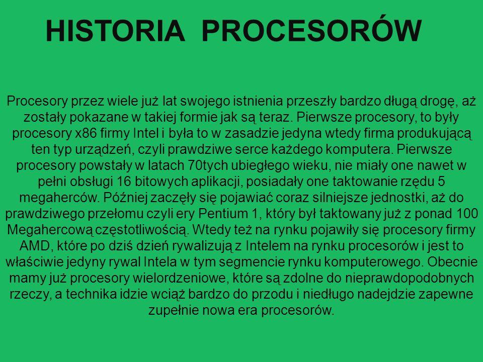 Procesory przez wiele już lat swojego istnienia przeszły bardzo długą drogę, aż zostały pokazane w takiej formie jak są teraz.