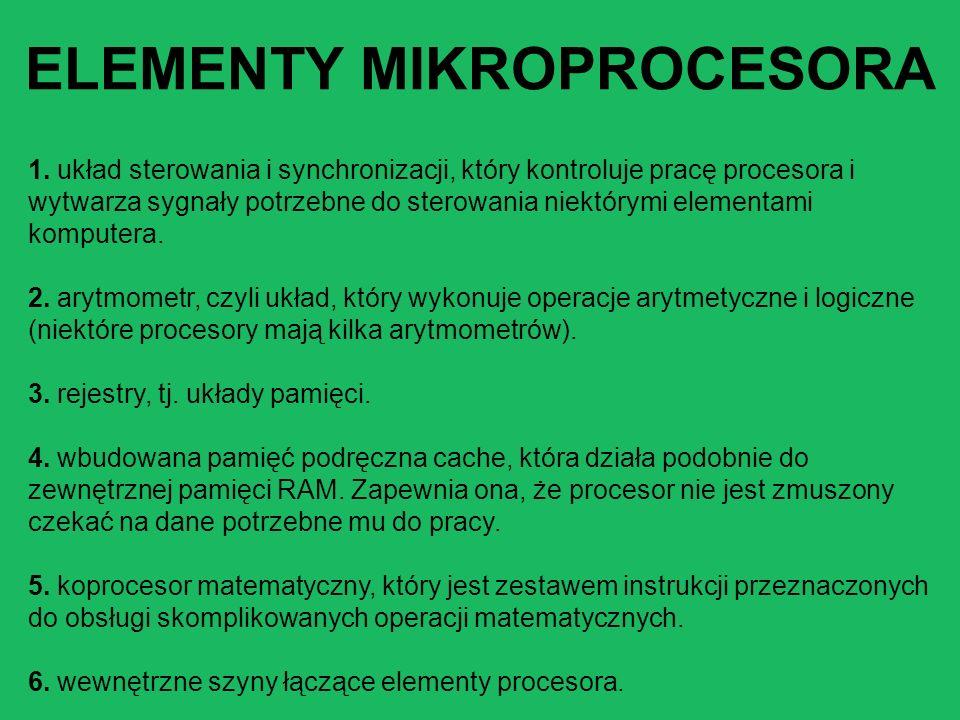 1. układ sterowania i synchronizacji, który kontroluje pracę procesora i wytwarza sygnały potrzebne do sterowania niektórymi elementami komputera. 2.