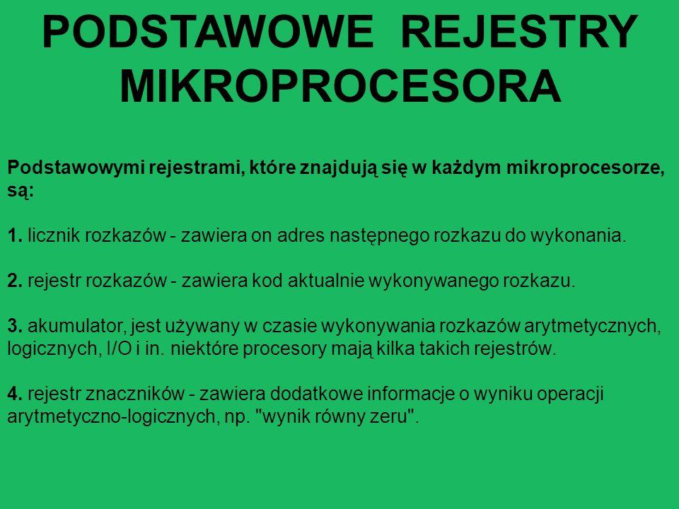 Podstawowymi rejestrami, które znajdują się w każdym mikroprocesorze, są: 1. licznik rozkazów - zawiera on adres następnego rozkazu do wykonania. 2. r