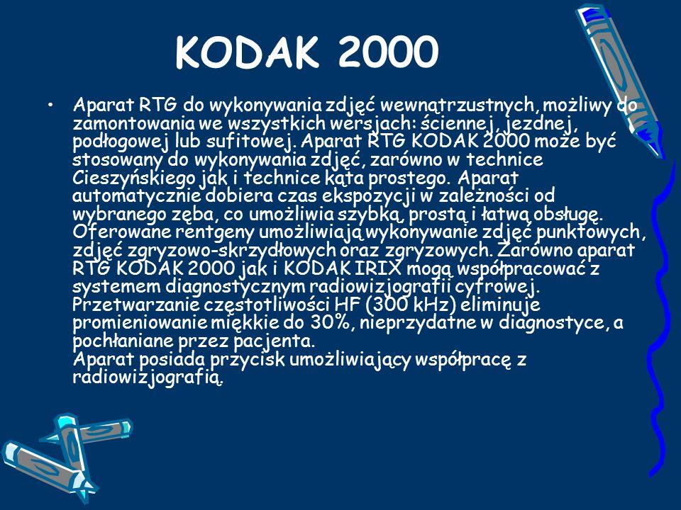 KODAK 2000 Aparat RTG do wykonywania zdjęć wewnątrzustnych, możliwy do zamontowania we wszystkich wersjach: ściennej, jezdnej, podłogowej lub sufitowej.