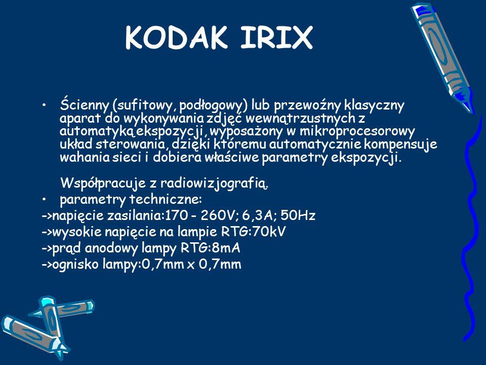 KODAK IRIX Ścienny (sufitowy, podłogowy) lub przewoźny klasyczny aparat do wykonywania zdjęć wewnątrzustnych z automatyką ekspozycji, wyposażony w mikroprocesorowy układ sterowania, dzięki któremu automatycznie kompensuje wahania sieci i dobiera właściwe parametry ekspozycji.