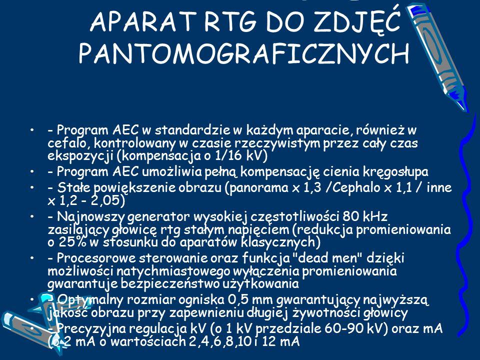TROPHY ORTHO SLICE 1000 APARAT RTG DO ZDJĘĆ PANTOMOGRAFICZNYCH - Program AEC w standardzie w każdym aparacie, również w cefalo, kontrolowany w czasie rzeczywistym przez cały czas ekspozycji (kompensacja o 1/16 kV) - Program AEC umożliwia pełną kompensację cienia kręgosłupa - Stałe powiększenie obrazu (panorama x 1,3 /Cephalo x 1,1 / inne x 1,2 - 2,05) - Najnowszy generator wysokiej częstotliwości 80 kHz zasilający głowicę rtg stałym napięciem (redukcja promieniowania o 25% w stosunku do aparatów klasycznych) - Procesorowe sterowanie oraz funkcja dead men dzięki możliwości natychmiastowego wyłączenia promieniowania gwarantuje bezpieczeństwo użytkowania - Optymalny rozmiar ogniska 0,5 mm gwarantujący najwyższą jakość obrazu przy zapewnieniu długiej żywotności głowicy - Precyzyjna regulacja kV (o 1 kV przedziale 60-90 kV) oraz mA (o 2 mA o wartościach 2,4,6,8,10 i 12 mA
