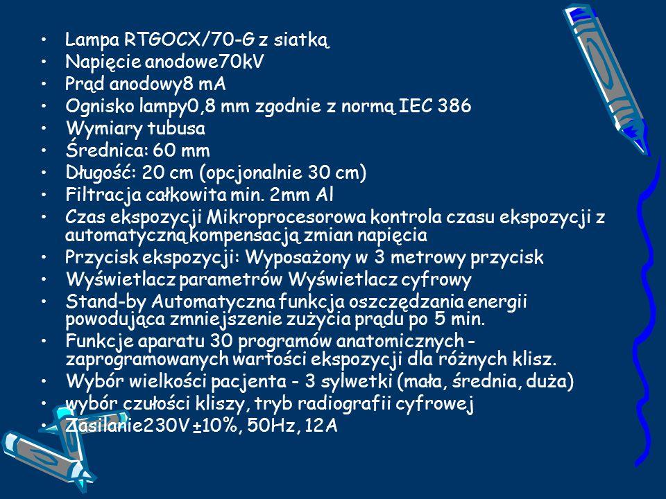 Lampa RTGOCX/70-G z siatką Napięcie anodowe70kV Prąd anodowy8 mA Ognisko lampy0,8 mm zgodnie z normą IEC 386 Wymiary tubusa Średnica: 60 mm Długość: 20 cm (opcjonalnie 30 cm) Filtracja całkowita min.