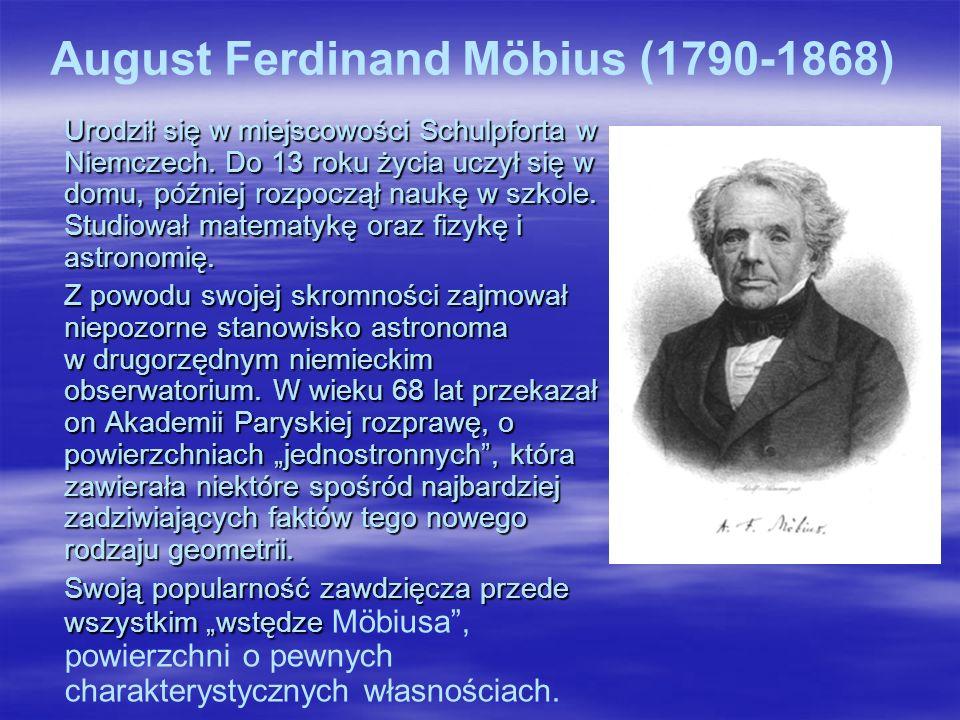 August Ferdinand Möbius (1790-1868) Urodził się w miejscowości Schulpforta w Niemczech.