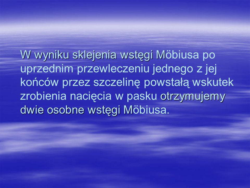 W wyniku sklejenia wstęgi M otrzymujemy dwie osobne wstęgi M W wyniku sklejenia wstęgi Möbiusa po uprzednim przewleczeniu jednego z jej końców przez szczelinę powstałą wskutek zrobienia nacięcia w pasku otrzymujemy dwie osobne wstęgi Möbiusa.