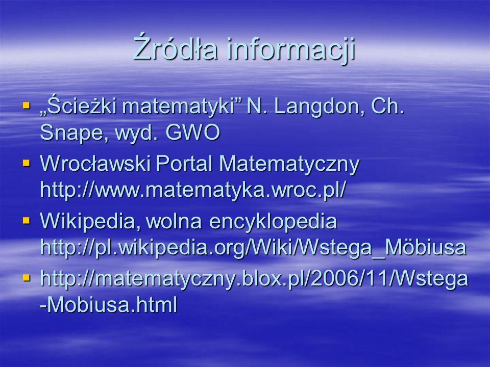 Źródła informacji Ścieżki matematyki N.Langdon, Ch.