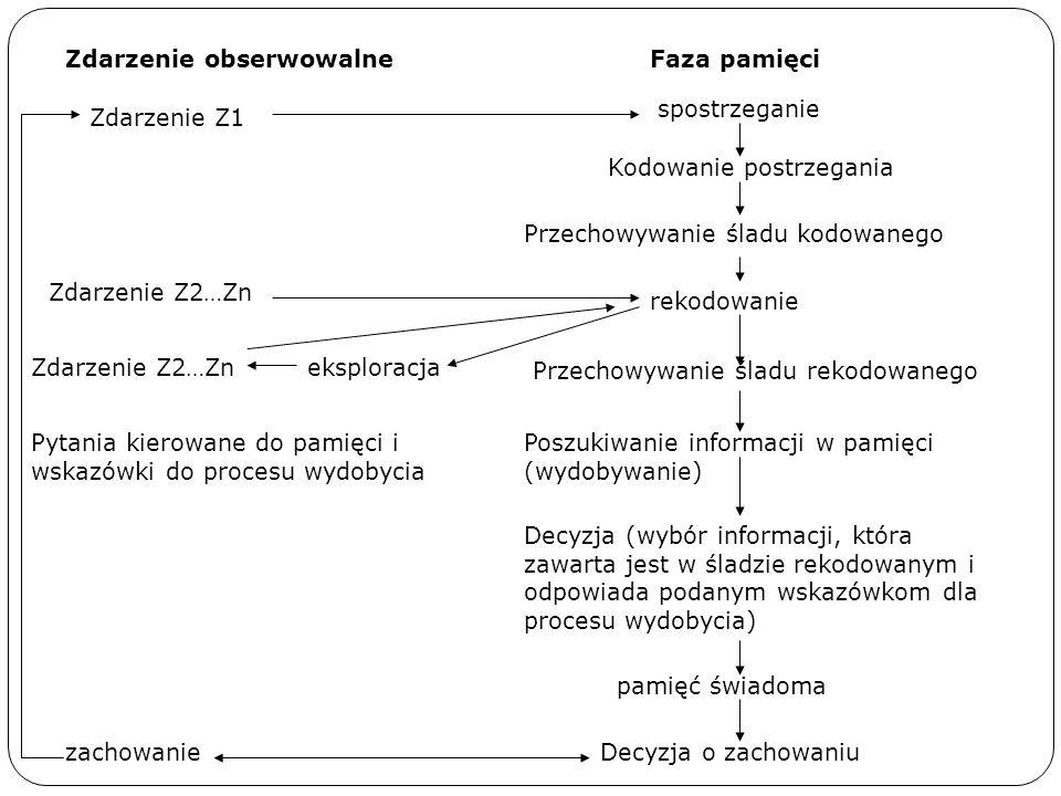 Faza pamięci spostrzeganie Kodowanie postrzegania Przechowywanie śladu kodowanego rekodowanie Przechowywanie śladu rekodowanego Poszukiwanie informacj