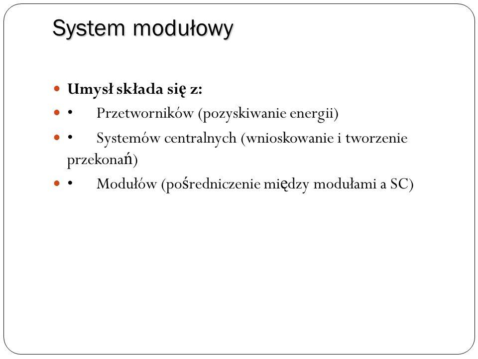 System modułowy Umysł składa si ę z: Przetworników (pozyskiwanie energii) Systemów centralnych (wnioskowanie i tworzenie przekona ń ) Modułów (po ś re