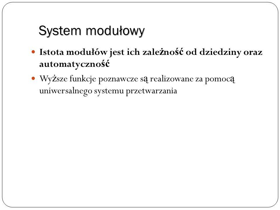 System modułowy Istota modułów jest ich zale ż no ść od dziedziny oraz automatyczno ść Wy ż sze funkcje poznawcze s ą realizowane za pomoc ą uniwersal