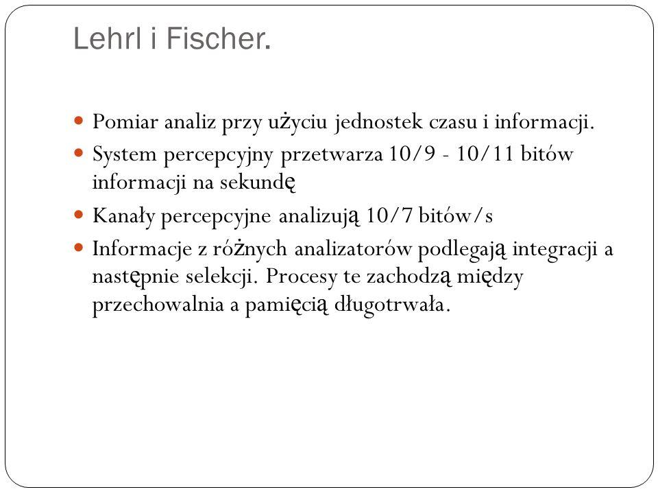 Lehrl i Fischer. Pomiar analiz przy u ż yciu jednostek czasu i informacji. System percepcyjny przetwarza 10/9 - 10/11 bitów informacji na sekund ę Kan