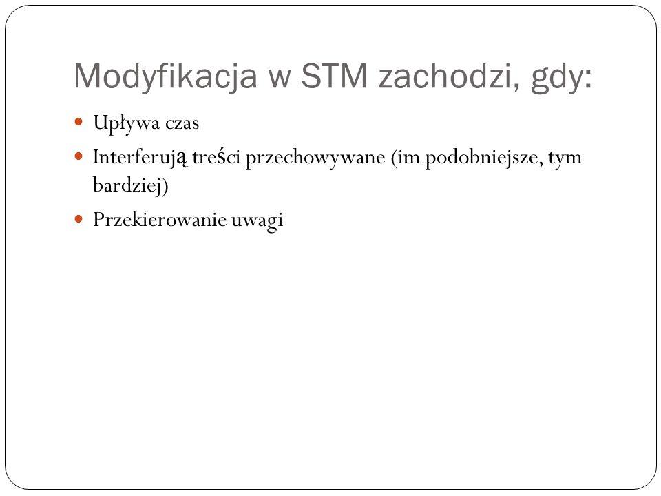 Modyfikacja w STM zachodzi, gdy: Upływa czas Interferuj ą tre ś ci przechowywane (im podobniejsze, tym bardziej) Przekierowanie uwagi
