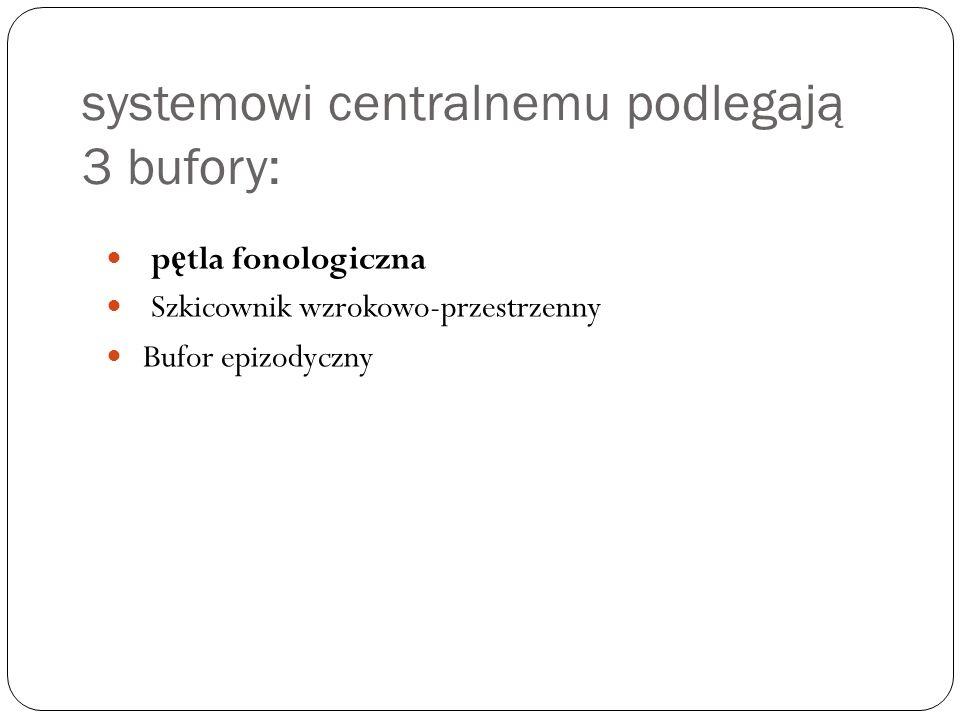 systemowi centralnemu podlegają 3 bufory: p ę tla fonologiczna Szkicownik wzrokowo-przestrzenny Bufor epizodyczny