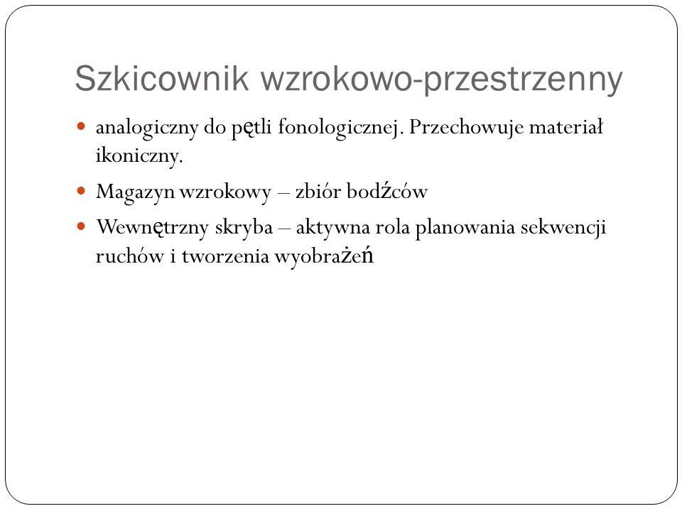 Szkicownik wzrokowo-przestrzenny analogiczny do p ę tli fonologicznej. Przechowuje materiał ikoniczny. Magazyn wzrokowy – zbiór bod ź ców Wewn ę trzny