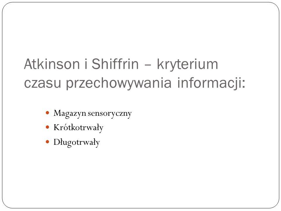 Atkinson i Shiffrin – kryterium czasu przechowywania informacji: Magazyn sensoryczny Krótkotrwały Długotrwały