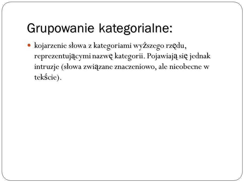 Grupowanie kategorialne: kojarzenie słowa z kategoriami wy ż szego rz ę du, reprezentuj ą cymi nazw ę kategorii. Pojawiaj ą si ę jednak intruzje (słow
