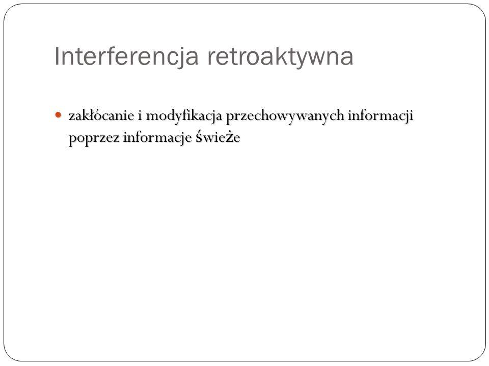 Interferencja retroaktywna zakłócanie i modyfikacja przechowywanych informacji poprzez informacje ś wie ż e zakłócanie i modyfikacja przechowywanych i