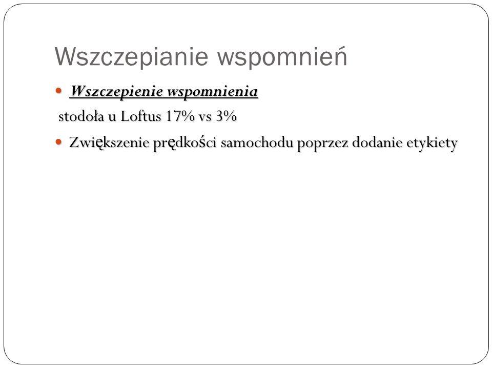 Wszczepianie wspomnień Wszczepienie wspomnienia Wszczepienie wspomnienia stodoła u Loftus 17% vs 3% stodoła u Loftus 17% vs 3% Zwi ę kszenie pr ę dko