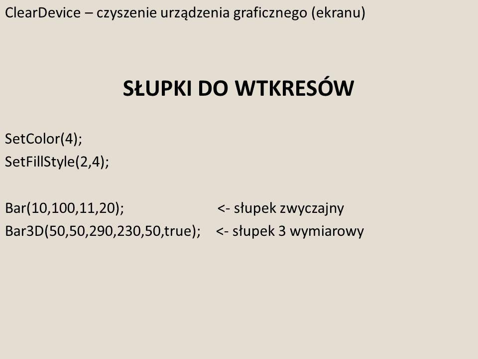 ClearDevice – czyszenie urządzenia graficznego (ekranu) SŁUPKI DO WTKRESÓW SetColor(4); SetFillStyle(2,4); Bar(10,100,11,20); <- słupek zwyczajny Bar3