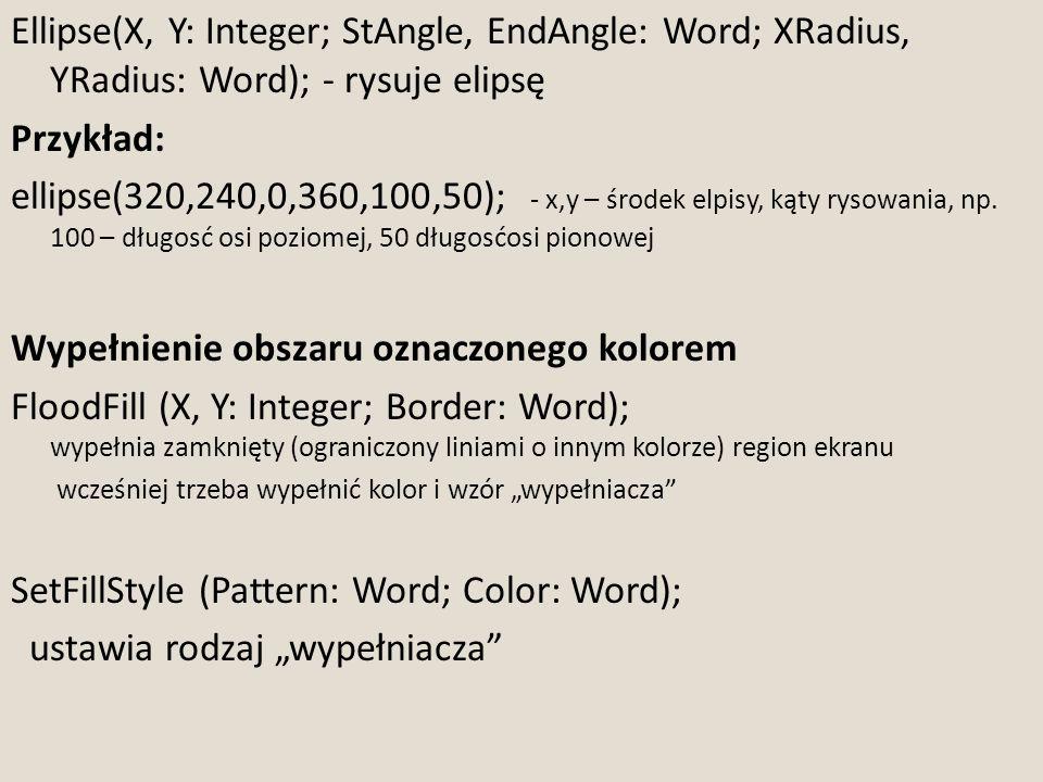 Ellipse(X, Y: Integer; StAngle, EndAngle: Word; XRadius, YRadius: Word); - rysuje elipsę Przykład: ellipse(320,240,0,360,100,50); - x,y – środek elpis