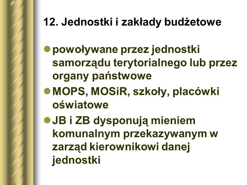 12. Jednostki i zakłady budżetowe powoływane przez jednostki samorządu terytorialnego lub przez organy państwowe MOPS, MOSiR, szkoły, placówki oświato