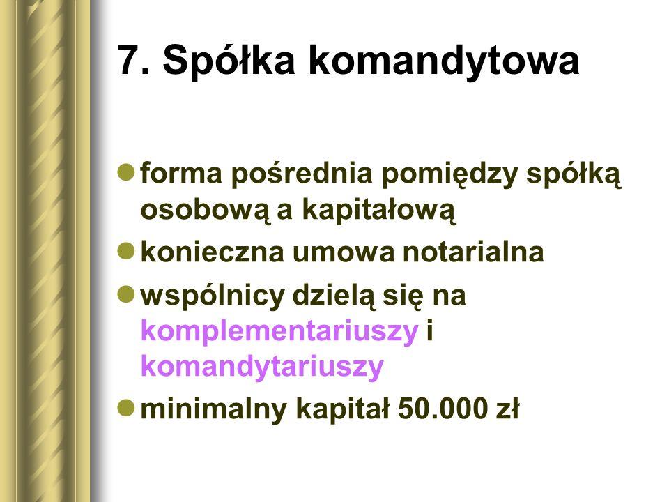 7. Spółka komandytowa forma pośrednia pomiędzy spółką osobową a kapitałową konieczna umowa notarialna wspólnicy dzielą się na komplementariuszy i koma