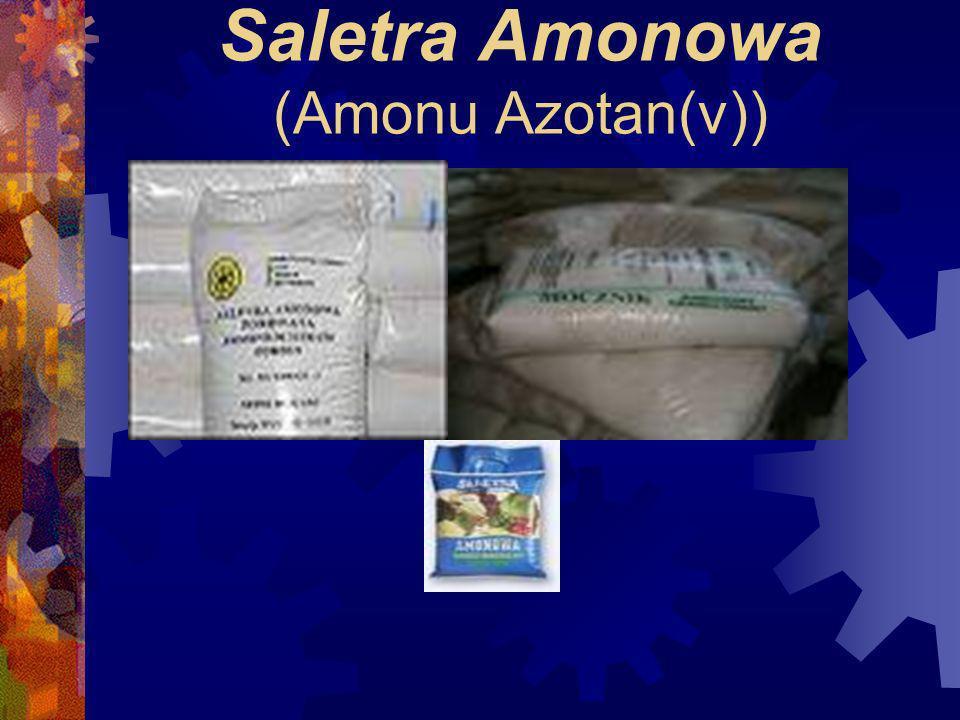 Saletra Amonowa (Amonu Azotan(v)) Bezbarwna substancja krystaliczna. Temperatura topnienia 170°C. Dobrze rozpuszcza się w wodzie i alkoholu etylowym,